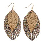 Wholesale filigree leaf glittery feather drop earrings