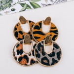 Wholesale cowhide animal print encased drop disc earrings diameter