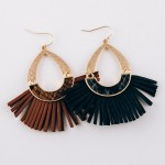 Wholesale hammered hinge teardrop faux leather tassel earrings snakeskin details