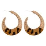 Wholesale cowhide leopard print hammered j hoop earrings wire wrapped details