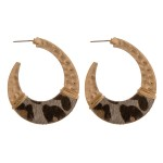 Wholesale cowhide leopard print hammered j hoop earrings wire wrapped details