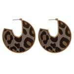Wholesale cowhide leopard print encased open hoop disc earrings diameter