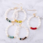 Wholesale natural stone pearl beaded earrings