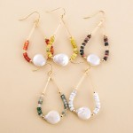 Wholesale semi precious beaded faux pearl teardrop earrings L