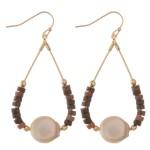 Wholesale semi precious beaded faux pearl teardrop earrings L