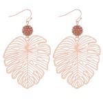 Wholesale rhinestone filigree palm leaf drop earrings L