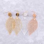 Wholesale rhinestone filigree leaf drop earrings L