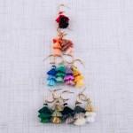 Wholesale fan tassel drop hoop earrings