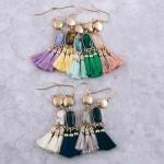 Wholesale semi precious tassel drop earrings