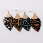Wholesale doubled genuine leather animal print feather earrings