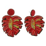 Wholesale sequin beaded palm leaf earrings