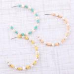 Wholesale pearl spacer beaded open hoop earrings diameter