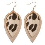Wholesale cowhide genuine leather layered animal print earrings