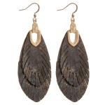 Wholesale metallic genuine leather animal print feather bohemian earrings