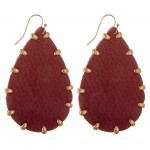 Wholesale faux leather Gold bead trim teardrop earrings L
