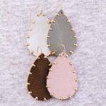 Wholesale faux leather Gold bead trim teardrop earrings L