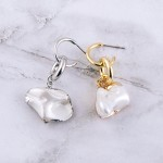 Wholesale faux pearl huggie hoop drop earrings L Pearl may vary
