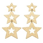 Wholesale worn Gold Hammered Star Statement Drop Earrings L