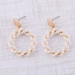 Wholesale hammered pearl beaded twisted drop earrings L
