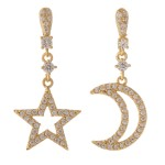 Wholesale gold dipped cubic zirconia mix match star moon dangle earrings Cubic Z