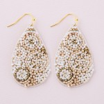 Wholesale geometric seed beaded felt teardrop earrings L