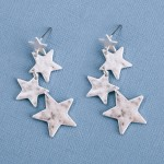 Wholesale irregular Hammered Star Linked Drop Earrings Worn Silver L