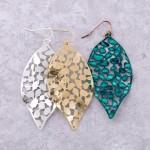 Wholesale metal curved filigree leaf drop earrings L