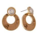 Wholesale natural colored faux pearl encased pearl drop earrings diameter