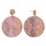 Wholesale faux leather metallic snakeskin disc drop earrings L diameter