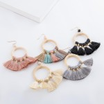 Wholesale wood fan tassel statement drop earrings bead accent L