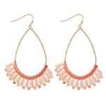 Wholesale thread Wrapped Cone Beaded Teardrop Earrings L