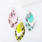 Wholesale three Faux Leather Snakeskin Feather Layered Drop Earrings L
