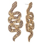 Wholesale faux Leather Statement Snake Earrings L