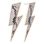 Wholesale snakeskin Statement Lightning Bolt Earrings L