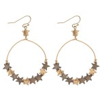 Wholesale wooden Star Beaded Circle Drop Earrings L