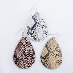 Wholesale faux Leather Snakeskin Teardrop Earrings L