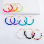 Wholesale rubber Heishi Beaded Hoop Earrings Gold Bead Accents diameter