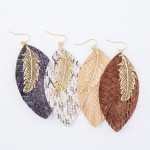 Wholesale faux Leather Snakeskin Statement Earrings Filigree Feather Accent L
