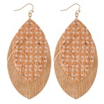 Wholesale faux Leather Cork Flower Print Feather Statement Earrings L
