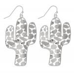 Wholesale metal Filigree Cactus Drop Earrings L
