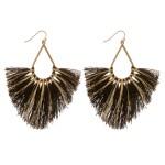 Wholesale metallic Stripe Fringe Tassel Statement Teardrop Earrings L