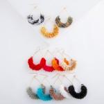 Wholesale textured fringe tassel teardrop earrings L