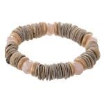 Wholesale oyster Shell Flat Disc Beaded Stretch Bracelet Faceted Bead Details di