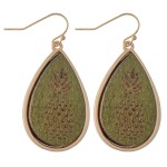 Wholesale wooden Pineapple Stamped Teardrop Earrings L
