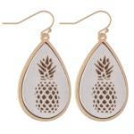 Wholesale wooden Pineapple Stamped Teardrop Earrings L