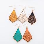 Wholesale wooden Filigree Moroccan Teardrop Earrings L