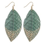 Wholesale animal Print Feather Drop Earrings Gold Metallic Detail L