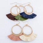 Wholesale faux Leather Animal Print Tassel Drop Earrings L