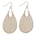 Wholesale metal Encased Cork Teardrop Earrings L