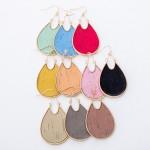 Wholesale metal Encased Cork Teardrop Earrings L